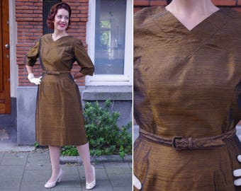Vtg 50/60s Copper Brown Belted Dress L // Classy Vintage Dress Fall Winter Party - 31'' Waist