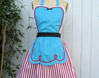Retro apron FIFTIES Diner Waitress ..RETRO turq red stripes womens full apron  50s ice cream parlor vintage inspired