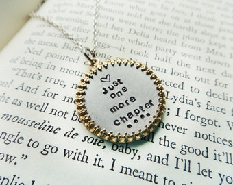 Book Lover Pendant-Metal Pendant Bookworm Librarian Jewelry- Just One More Chapter Reading Pendant- Bilbiophile Aluminum Stamped Frame
