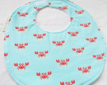 Neutral Baby or Toddler Bib - Little Crabs - Cotton bib with terry cloth backing and snagfree hook & loop closure