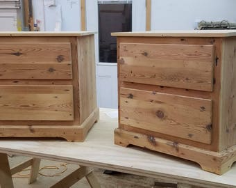 Reclaimed Heartpine Two Drawer Nightstand