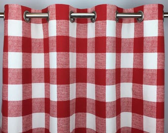 Beautiful Red Buffalo Check Curtains   FREE SHIPPING   Plaid Check   Red Gingham  Drapes   Red