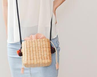 Boho bag crossbody bag weaving seagrass straw purse handmade bag straw bag from Thailand