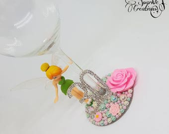 Personalised Disney Standing Tinkerbell Wine Glass - 18th 21st 30th Birthday