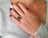 Solid Gold Ring, Druzy Ri...