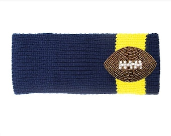 navy blue & yellow (maize) knit headband ear warmer with a beaded and rhinestone football Michigan and San Diego Chargers inspired