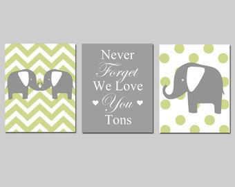 Elephant Nursery Art Trio - Set of Three 8x10 Prints - Chevron and Polka Dot Elephants - Never Forget We Love You Tons - CHOOSE YOUR COLORS