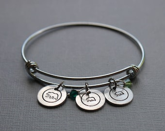 Mama and baby bears bangle bracelet - hand stamped charms - mom bracelet