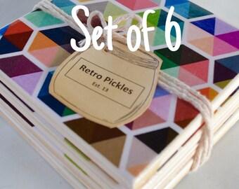 Ceramic Tile Coasters - Geometric Style 053 (set of 6)