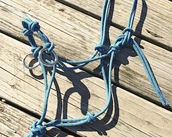 Custom Sidepull Rope Halter, Bitless Bridle, Custom Horse Halter, Rope Halter, Yacht Rope Halter, Horse Halter, Sidepull, Riding Halter