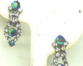 30% Off Sale Stunning Drop Rhinestone Earrings blue green Vintage Clip on Aurora Borealis