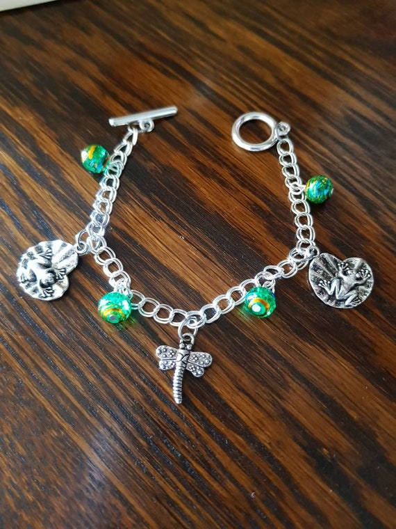 Frog and Dragonfly bracelet