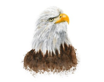 Patriotic Nursery Art - Bald Eagle Print - North American Decor - Eagle Wall Art - Patriotic Decor - Eagle Art - American Art - Bird of Prey