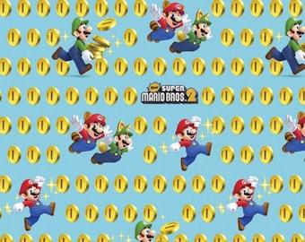 Nintendo Fabric-  Super Mario Fabric- Super Mario  2 Coins Fabric From Springs Creative *inv