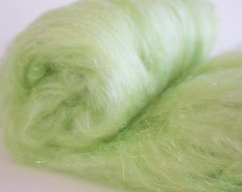 Spinning Fiber Batt- Seacell, Rose Fiber, Bamboo, Tencel and Angelina, Vegan blend 2 oz