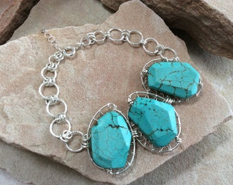 Wire Wrapped Sterling Silver Triple Turquoise Bracelet