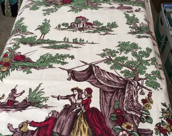 "40s Covington ""Master Pieces""//Natives Meet Immigrants//Italian Multi Pastoral Toile//Vintage Cotton"