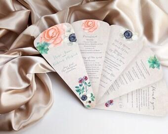 Wedding program petal fan - rustic wedding fan-  Bell Gardens design