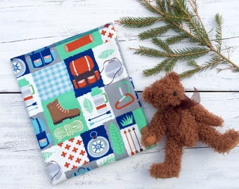 Receiving Blanket, Camping, Hiking, Fishing Baby Boy Blanket, Baby Shower Gift, Hospital Receiving Blanket, Flannel Receiving Blanket