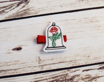 Handcrafted Red Rose Jar Feltie Clip - Small Hair Clip - Baby Girl Bows - Rose Jar Gift - Birthday Favor - Beast Bow - Stocking Stuffer