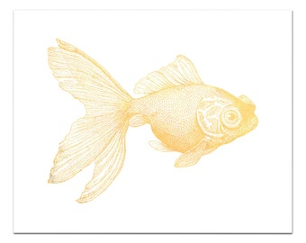 Goldy the Goldfish Print, Gold Foil Goldfish Art, Nautical Decor, Gold Decor, Fish Print, Fish Wall Art, Gold Foil Print