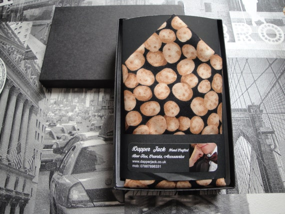 Pocket square, potatoe print,  pocket square for farmers, pocket hanky, suit hanky