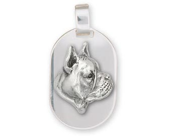 Boxer Pendant Jewelry Sterling Silver Handmade Dog Pendant BX4-DT