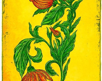 Flora En Couleur Hand Made Blank Card, Archival Reproduction of an original watercolor etching.