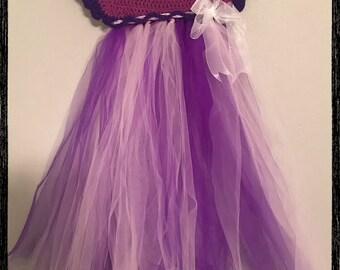 Multi color crochet purple dress