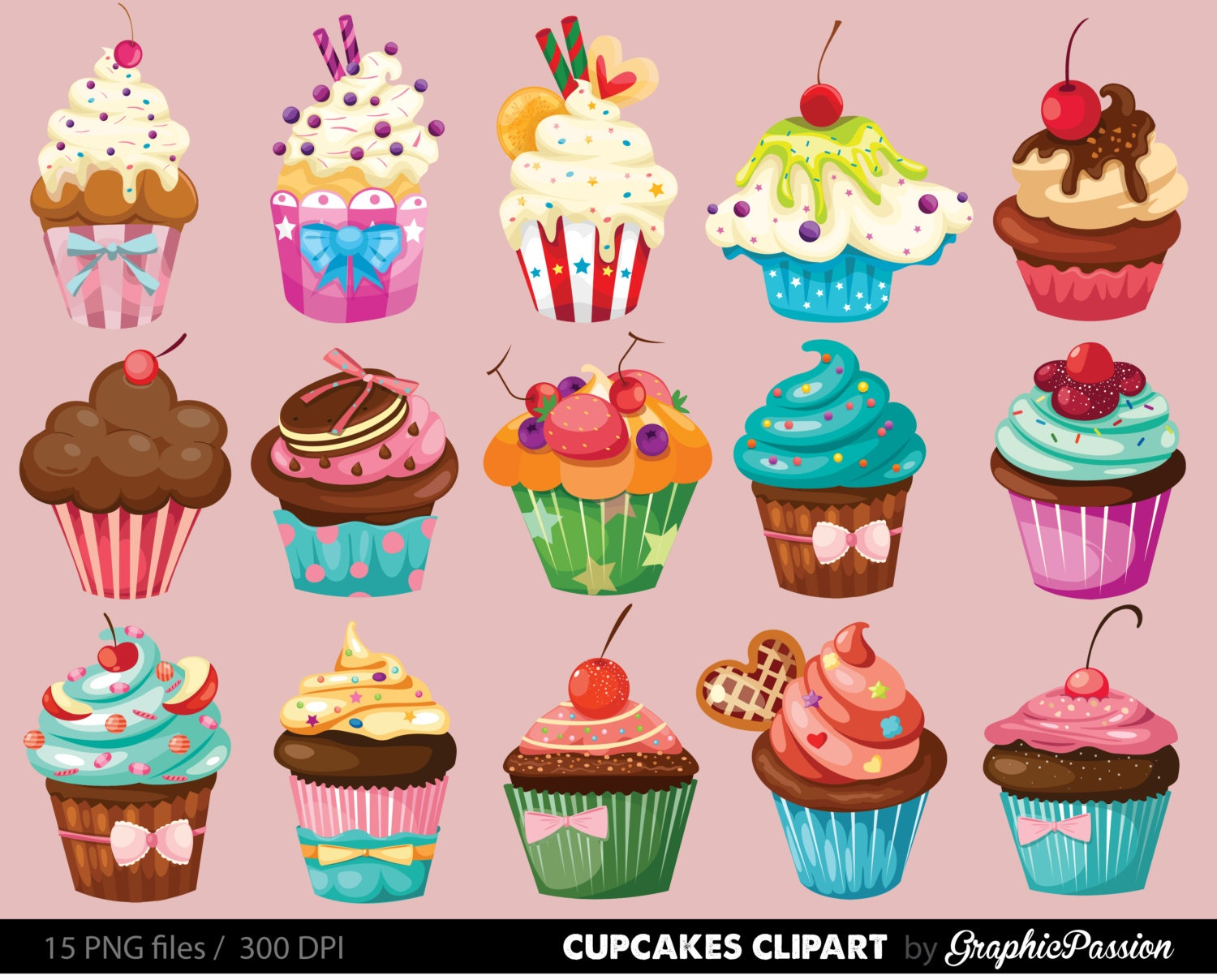 Cupcakes clipart digital cupcake clip art cupcake digital