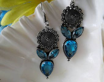Vintage Blue Topaz Earrings