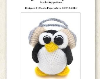 Penguin Music Lover - pdf crochet toy pattern - amigurumi tutorial