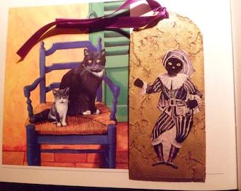 marque-page commedia dell'arte en liège doré avec chat :Scaramouche