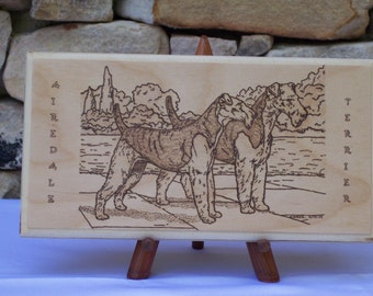 Airedale Terrier Woodburning Pyrography