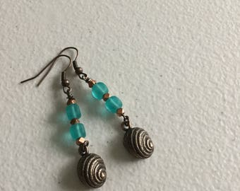 Sea glass and shells earrings