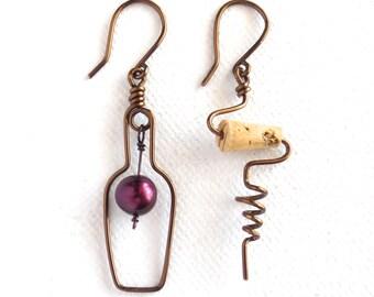 Wine Bottle and Cork Screw Earrings with Grape. Bronze Wine Earrings. Cork Jewelry. Wine Lovers Earrings