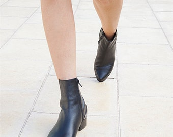 SALE, Black Leather Booties, Handmade Boots, Ankle Boots, Black Boots, Classic Boots, Women Leather Shoes