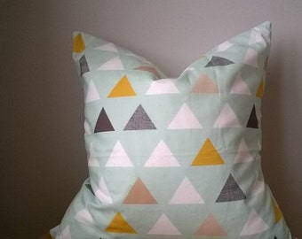Designer Fabric triangle geometric graphic mint green yellow gold gray white pillow cover toss cushion 16 18 20 22 24 26  mod modern