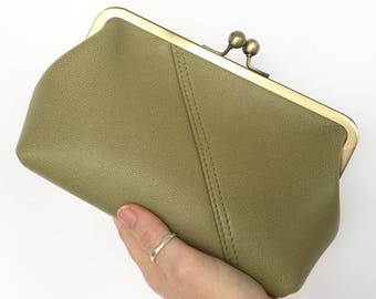 Audrey Clutch in a Olive Green Bovine Leather