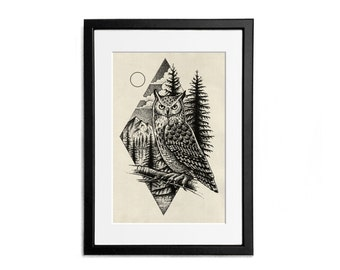 Owl Print illustration A4 Poster Wall Decor Naturalistic Illustration