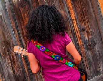 Leather embroidered guitar strap, Floral guitar strap, Woven guitar strap, Gift guitarist, Gift for her, Gift for him - MultiColor JDG1