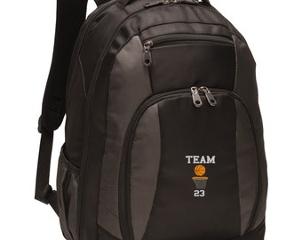 Personalized Basketball Backpack, Custom Book Bag, Embroidered School  Backpack, Team Name and Number