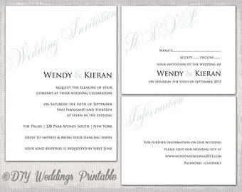"Wedding invitation templates Elegant & simple Silver Gray ""Parfumerie"" printable wedding invitations RSVP info card suite Word Download"