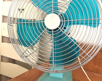 Vintage Zenita Aqua Fan, Turquoise Fan, Superior Electrics Corporation