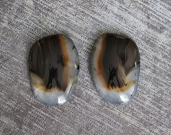 Montana Agate, Pair, Agate, Cabochon, Cab, Statement, Large, White, Beige, Brown, Freeform, Oval, Designer, Stone Creek
