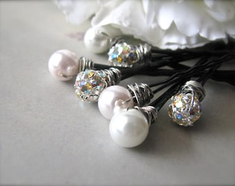 Pearl and Rhinestone Hair Pins - Blush Pink and White Romance Set of 7