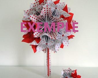 Rockabilly origami paper wedding bouquet