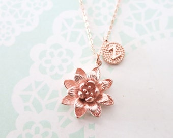 Personalised Letter and Lotus rose gold necklace - rose gold filled, lotus flower, letter, initial, sisters, best friends, customised