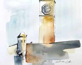 original watercolor painting - clock tower, Galle Fort Sri Lanka