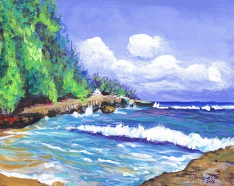 Mahaulepu Morning Original Acrylic Beach Ocean Painting from Kauai Hawaii by Marionette blue green sand brown